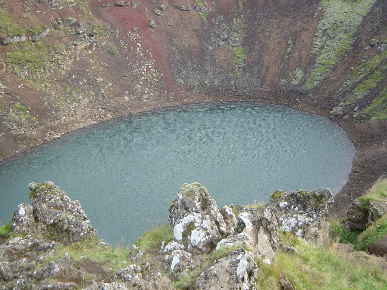 A vulcano crater filled with rain water...
