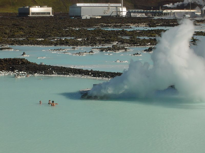 The geyser heating the Blue Lagoon. In the back you see the power central.