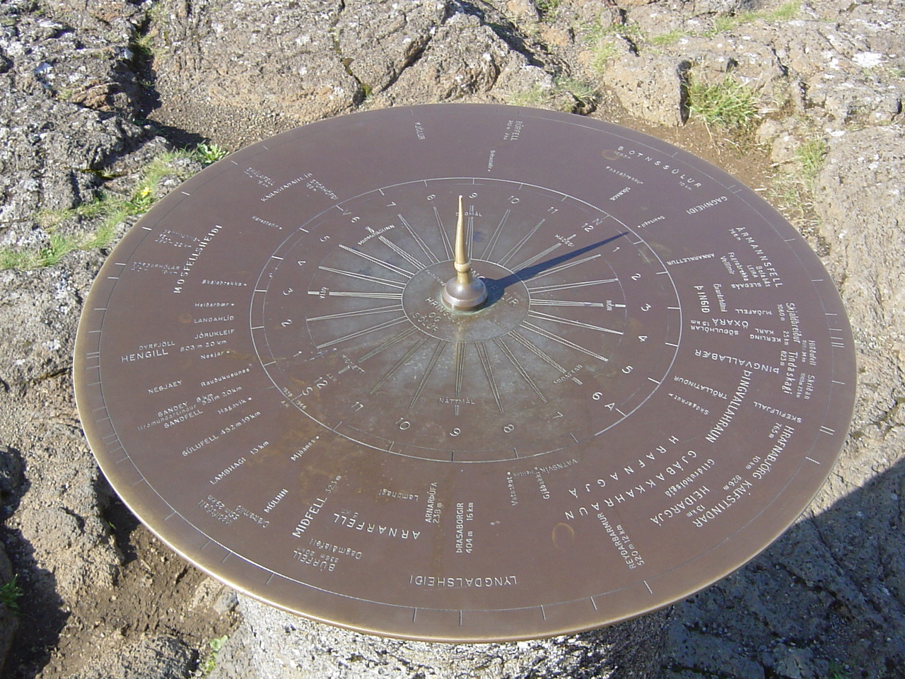 Interesting sun dial pointing out all the different views and places and their distances to them.