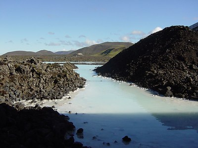 the start of the Blue Lagoon - a lake warmed by a gyeser with medicinal powers.