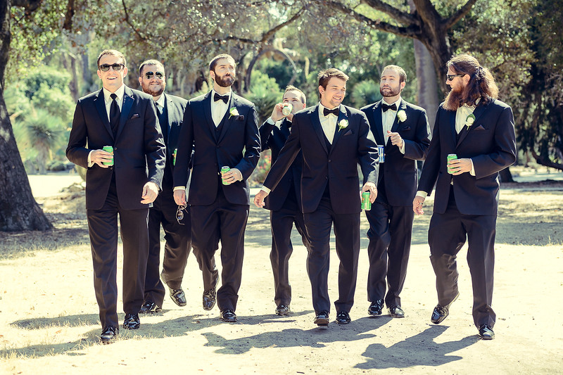 groom and groomsmen at Stanford University