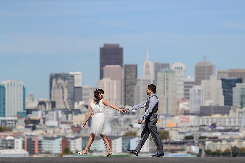 bride & groom with SF view