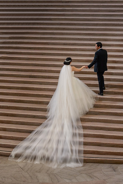 bride and groom in San Francisco City Hall
