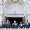 bridal party in front of the church