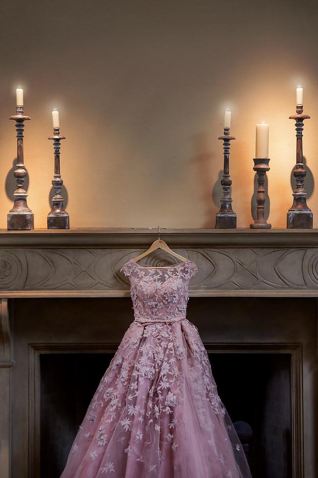 dirty pink wedding dress