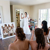 mirror shot of bride & bridesmaids