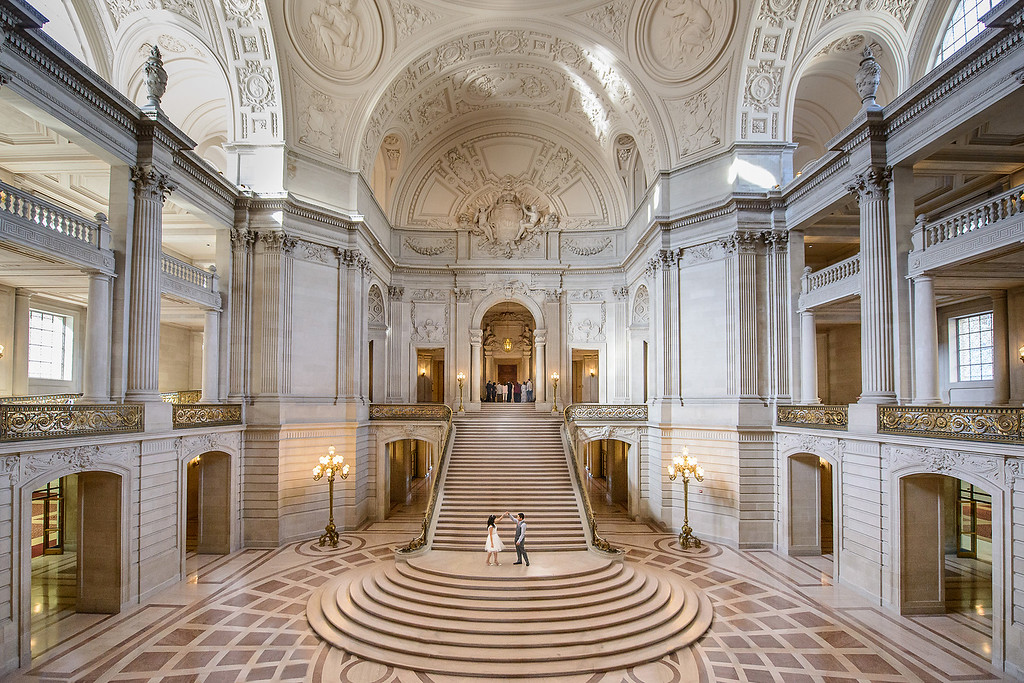 bride and groom in San Francisco City Hall