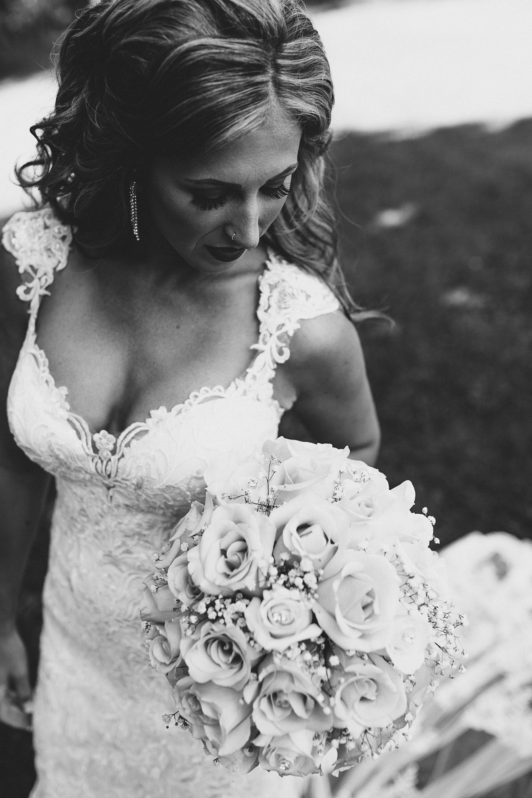 black and white wedding photo - Sara