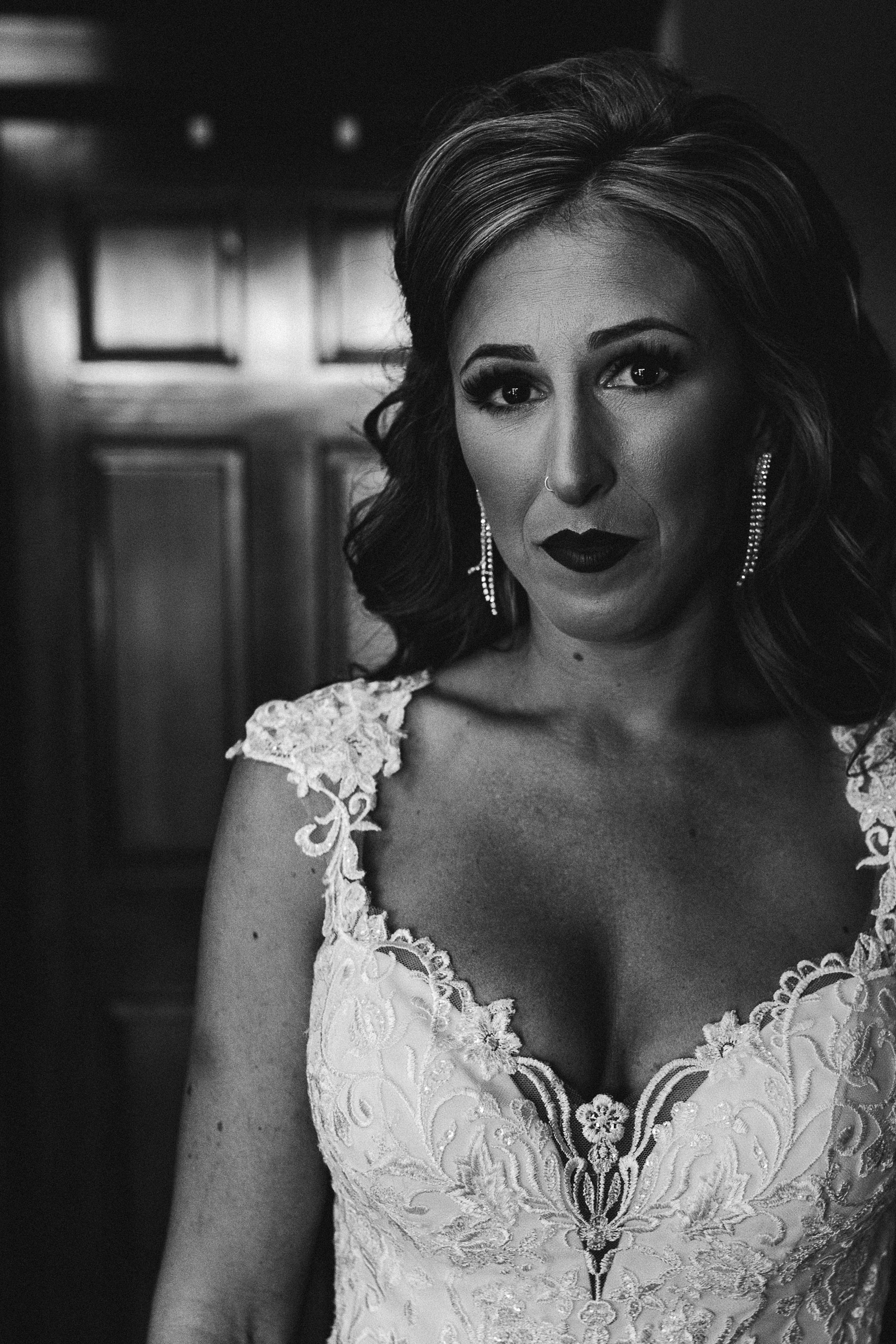 black and white wedding portrait - Sara