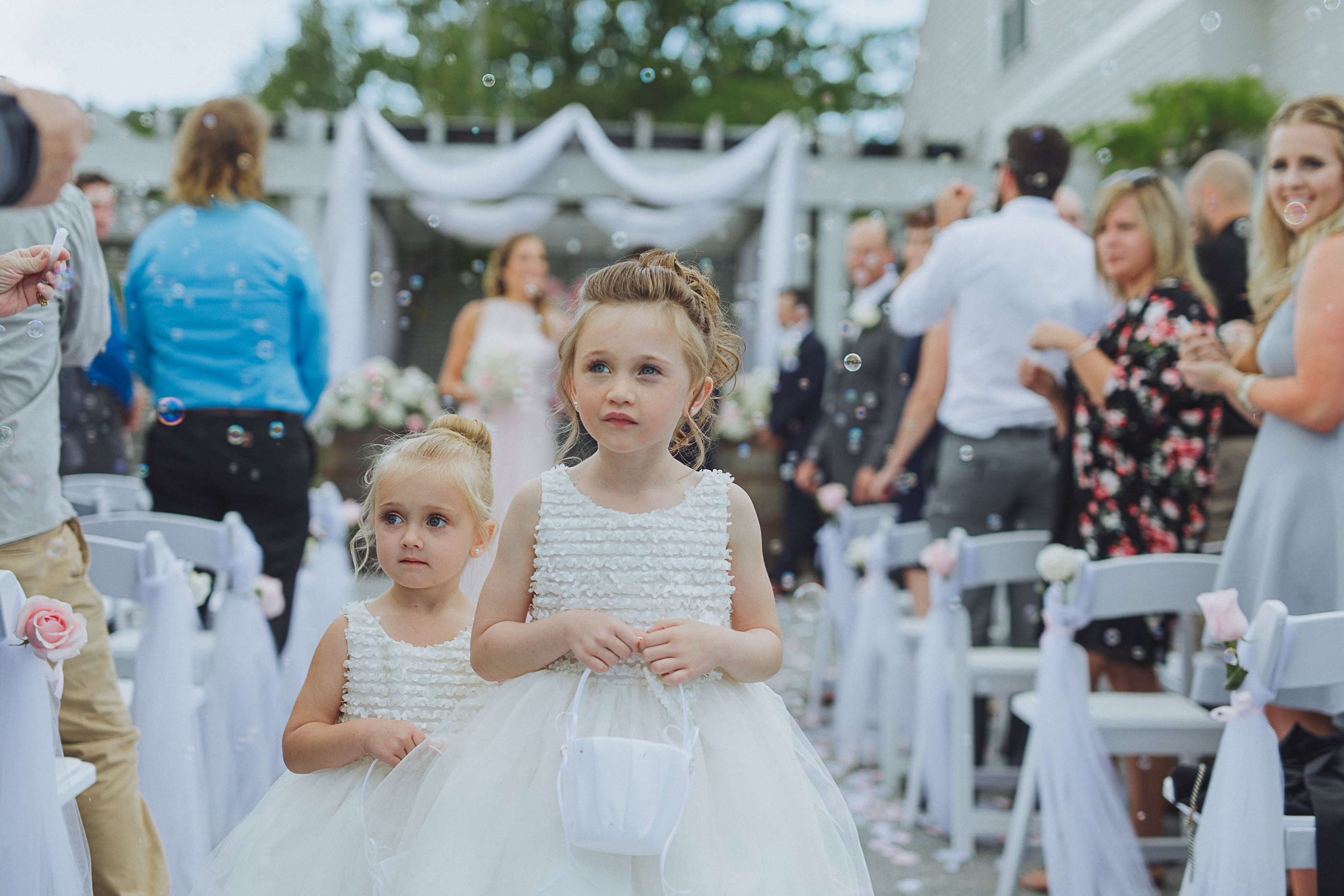 Wedding flower girls - bubbles celebration
