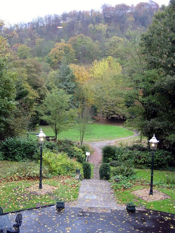 The gardens of the Valley Hotel in Ironbridge, Telford