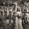 Bride Group shot on the trail, grey scale