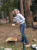 "Kim getting ready to lose at cornhole.<br /> <br />  <a href=""http://www.playcornhole.org/rules.shtml"">http://www.playcornhole.org/rules.shtml</a>"