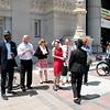 Jen Burton & Leslie Mah Wedding, May 23, 2014. In front of Oakland City Hall.