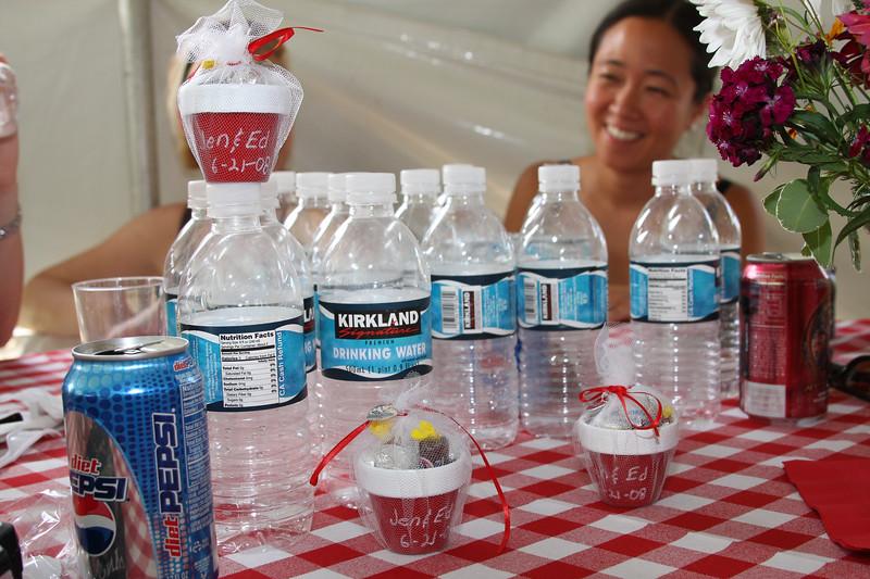 Tamara displays our dozens of water bottles