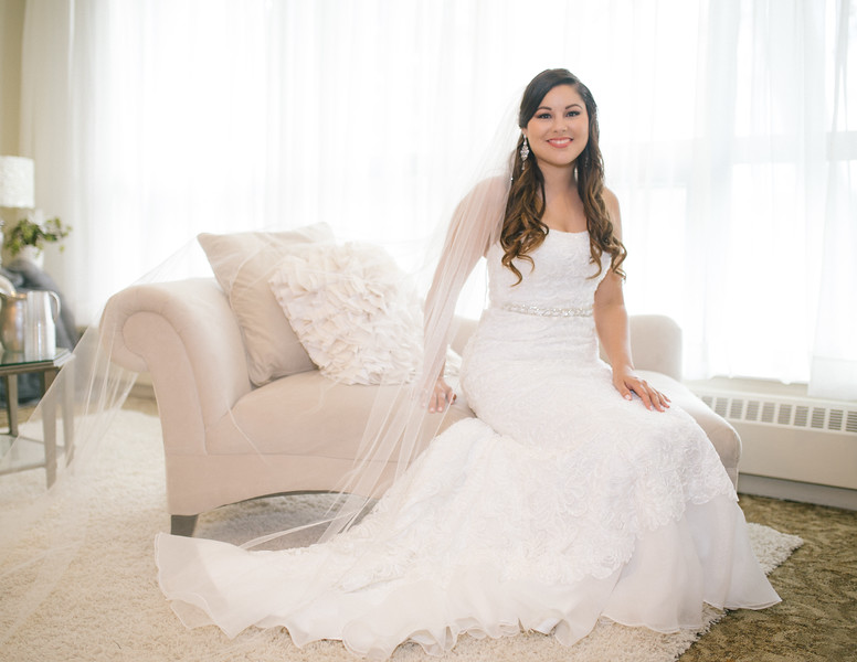 Bride in The Bridal Suite - Taken at Birchwoods Banquet Facility