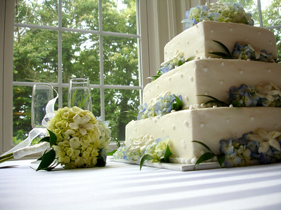 The wedding cake at the wedding of Jen and Jon Addair - Radford, Va ... July 3, 2005 ... Photo by Rob Page III