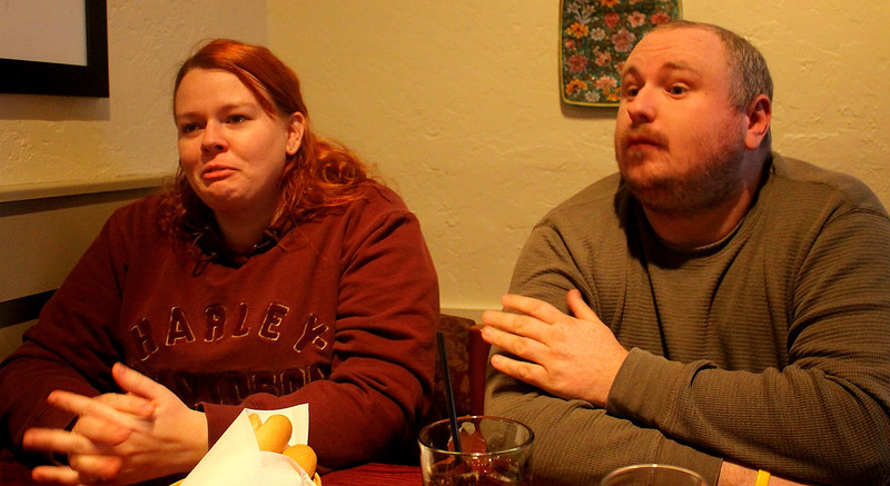 Casey soon to be Smith, and Jeremy Smith at Olive Garden where they swept around the table and other things trying to get us out of the place apparently... hmmph!