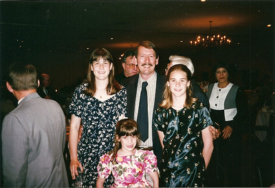 Tom Cerne and his girls at Jill & Eddie's wedding    6/97