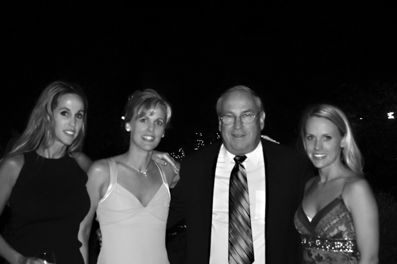 The girls & dad bw