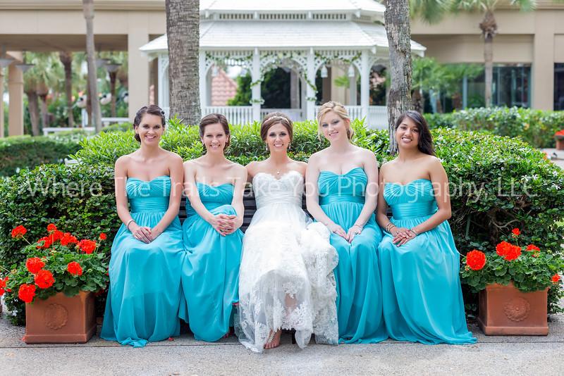 Bride & Bridesmaids Outside