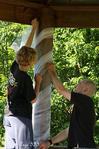 Abby and Kyle decorating the gazebo for the wedding - Chagrin Falls, OH ... June 27, 2009 ... Photo by Rob Page III