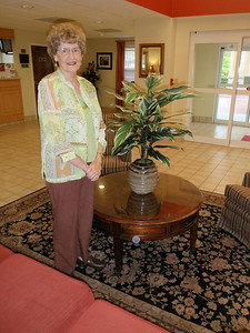 Mom looking wonderful in the lobby!