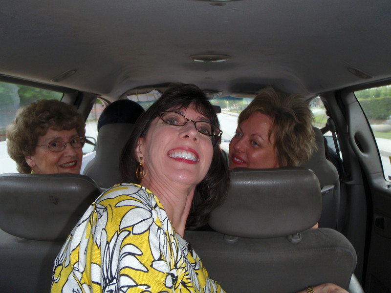 Mom, Jenny, and Susan in the taxi on the way to the rehearsal dinner (self-portrait)!