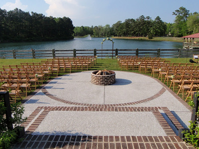 Outdoor wedding setting on the lake