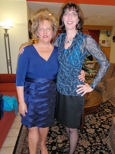 Susan and Jenny in the hotel lobby before leaving for the wedding