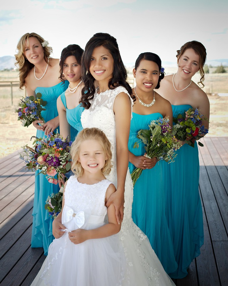 Bride, Bridesmaids and our flower girl