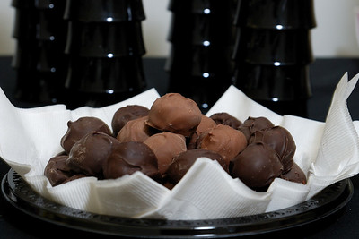 Chocolate bon bons and coffee cups.  The bon bons were very delicious.