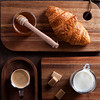 Breakfast with coffee and croissent.Top view