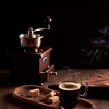 Still life with steaming hot espresso