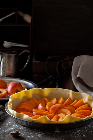 Home-made sweet pie with apricots