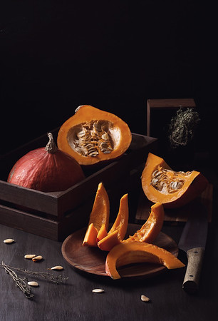 Bright orange pumpkin.Seasonal organic food concept.