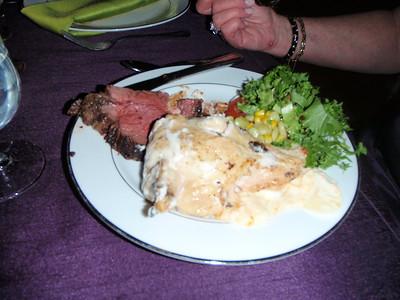 Prime rib, stuffed chicken, salad, succotash