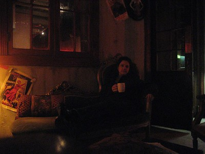 Jodi lounging with her chai