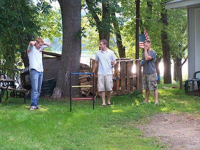 Jeremiah, Kyle & Derick playing Ladder Golf