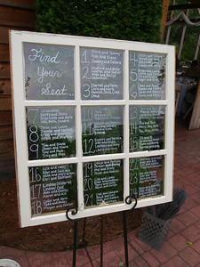 Seating chart for the reception/dinner displayed on a window!