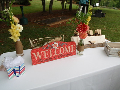 Welcome table with the program paddles.