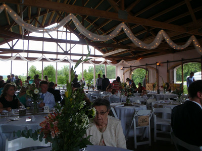 Reception building with tables for the 185 guests.