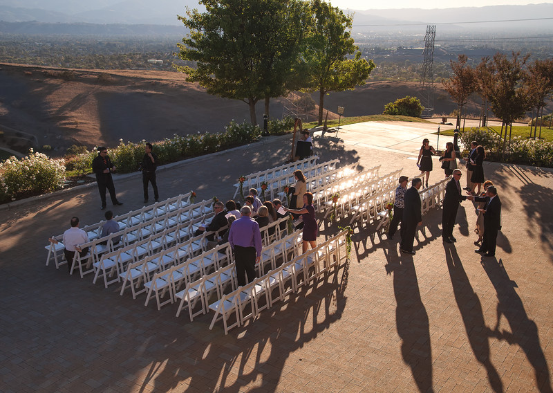 The guests get situated before the wedding ceremony.