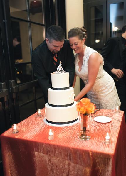 Lindsay & Bryan cut the wedding cake.