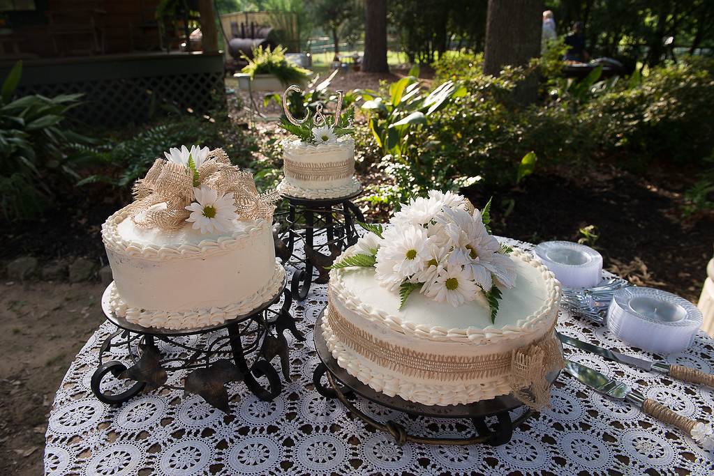 My husband made these hand-forged cake stands in 2006 for our older daughter's wedding.