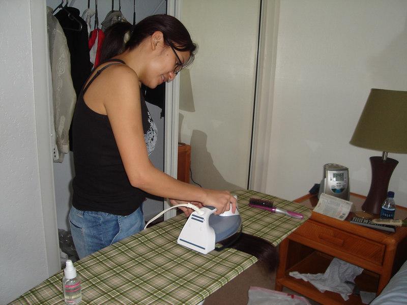 Me ironing my hair.  Literally!