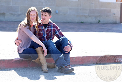 cute couple wedding announcement photos at the Boise Train Depot
