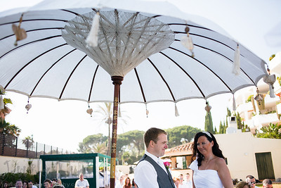 The Hotel Rincon Anduluz, Beach Club in Puerto Banus was the venue for the wedding of Fiona and Francis. With a beautiful view of the sea the ceremony was lead by Lizzie of Marriage Wedding Service. After some entertaining speeches and a lovely buffet style dinner the evening entertainment began with the fantastic DJ Ian Preston.As the sun set over the sea an amazing full moon appeared, there was some time for a few more photographs before darkness came in and the celebrations really got into full swing.
