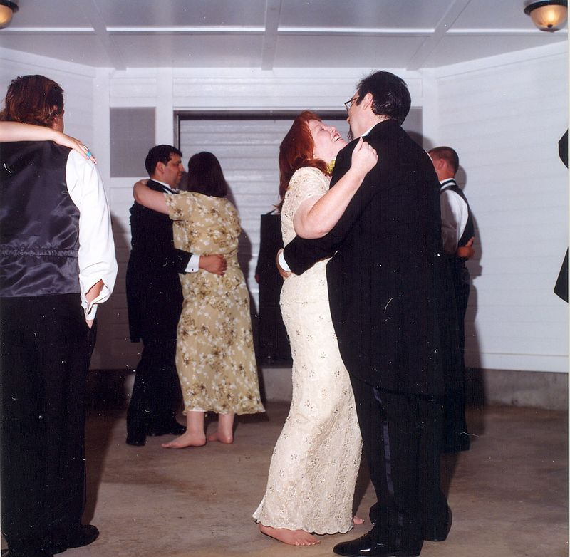 The entire wedding party dancing...