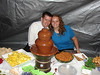 Chocolate Fountain Keepers -- Mike & Laura 1-year newlyweds on the deck during a cold breezy wet evening